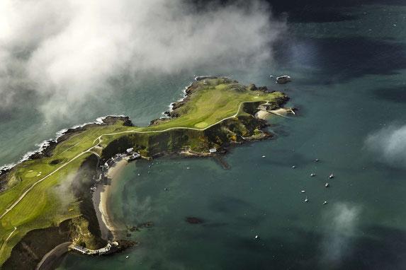 Luftaufnahmen des Nefyn Golfplatzes auf der Halbinsel Llyn