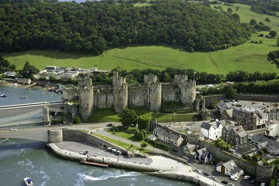 Luftbildaufnahme des Conwy Castles