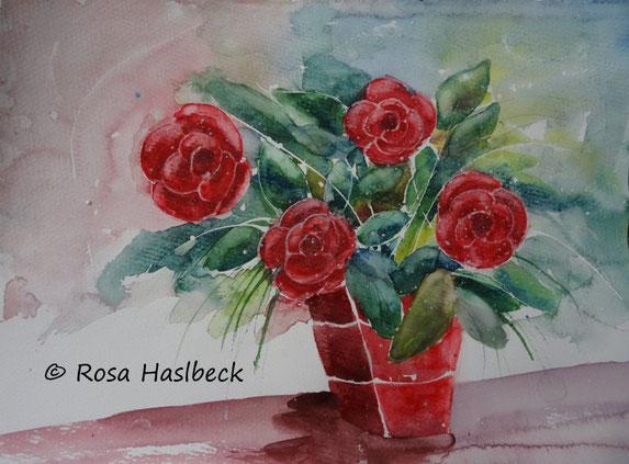 aquarell, blumenaquarell ,stillleben, rosen, blumen, vase, rot, malen, kunst, bild , blumenaquarell kaufen, aquarell kaufen, rosenstrauß kaufen,