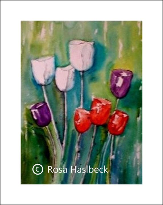 aquarell, frühling, tulpen, tulpenaquarell, laufen, kunst, bild, rot, violett, grün, blau
