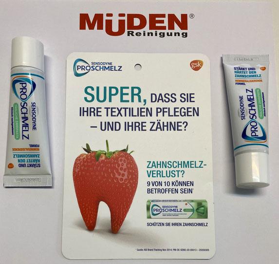 mueden.de, aktuelle Werbung, Flyer Sensodyne Zahnpaste kostenlos verteilen