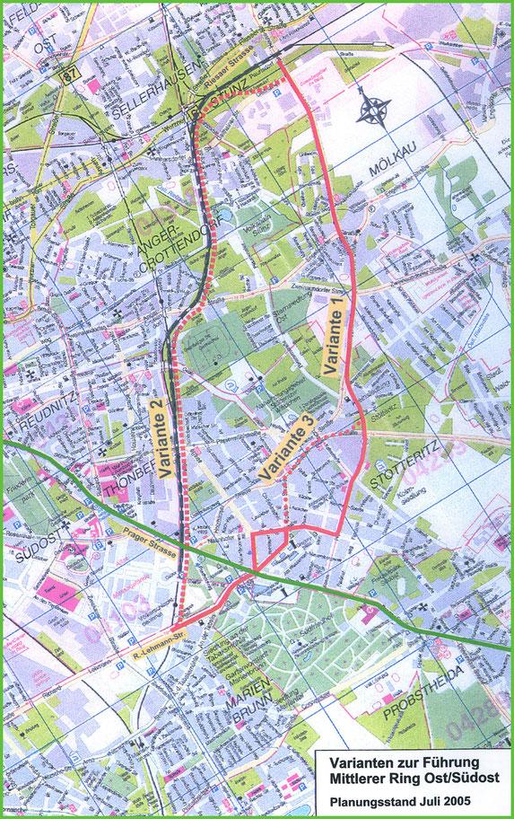 Das Bild zeigt die Grafik des geplanten Trassenverlaufes des geplanten mittleren Ringes