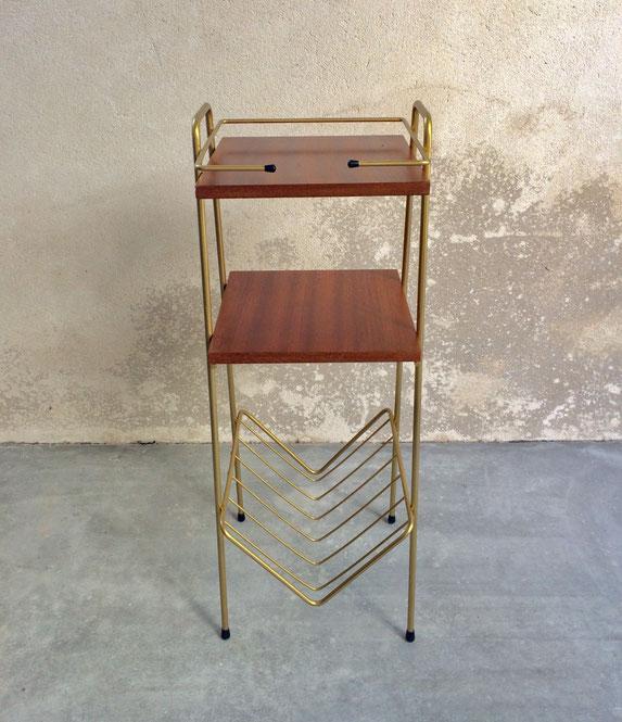 sellette vintage, sellette métal doré, sellette métal et bois