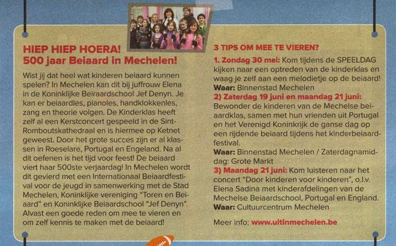 """Artikel in krantje van """"Mechelen Speelstad""""."""