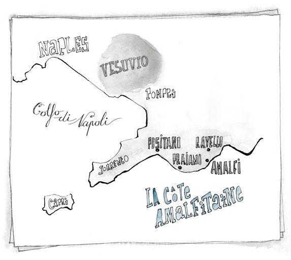 Blog voyage Italie côte Amalfitaine cartes illustrations Jdan Positano Ravello Praiano Amalfi Sorrento Vesuvio Naples Capri