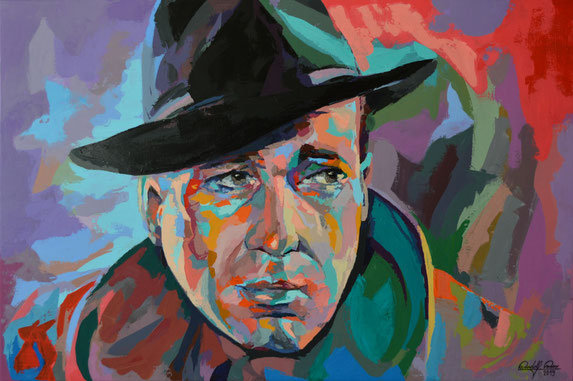 Mit dem Palettenmesser auf Leinwand gespachteltes, expressives Porträt des amerikanischen Schauspielers Humphrey Bogart.