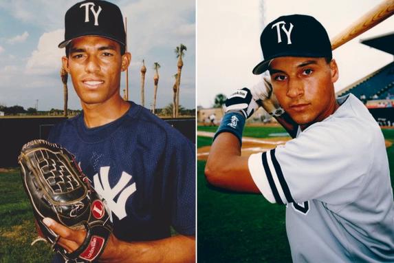 Due giovanissimi Mariano Rivera sx e Derek Jeter dx