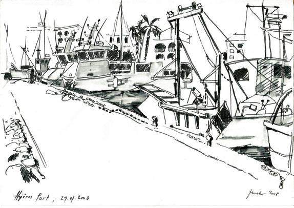 Hières Port 2003 (Filzstift laviert)