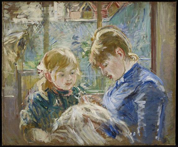 ベルト・モリゾ《乳母と芸術家の娘ジュリー》1884年