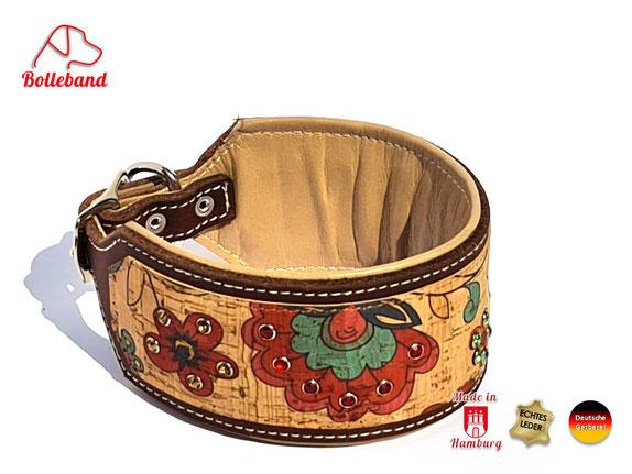 Exclusives Windhundhalsband aus Leder mit Korkleder und Glitzersteinen Handarbeit Bolleband