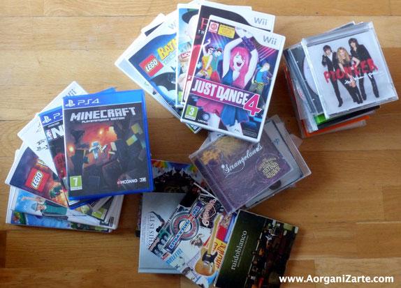 Deshazte de las cajas de los CDs y DVDs - AorganiZarte