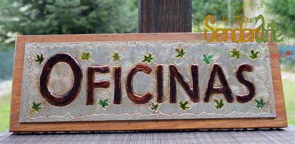 Cartel de 40cm x 15xm. Estaño sobre lámina de okumen y madera de castaño. Letras en relieve. 100€