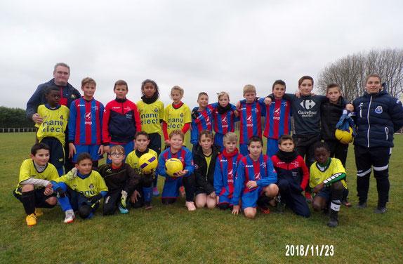 Belle photo amicale avec les deux équipes Portugais d'Amiens 2  et l'AS2A