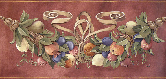 Frieze with Festoon by Irma Fiorentini - Fiorentini Design, Classical Murals, Wallpaper Borders