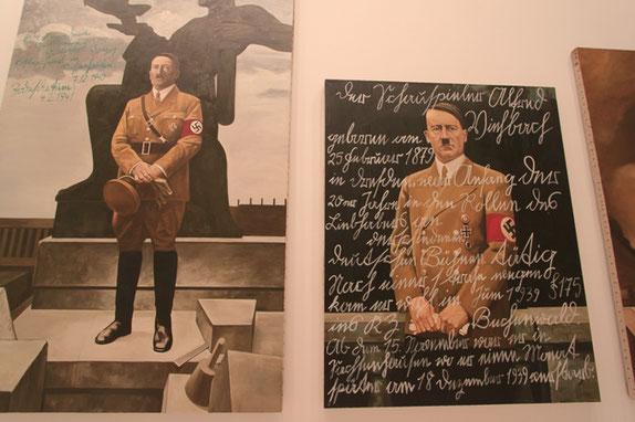 ヒットラーが同性愛者を処刑した事実に基づき ファシズム「第三帝国」を批判する作品。 処刑されたものの名前が肖像の上に描かれる。