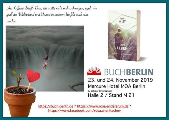 """Satzwerbung - aus """"Offener Brief"""" (Anthologie """"Über Mut - Über Leben"""") - für BuchBerlin 2019"""