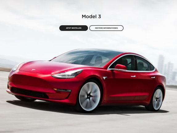 Das Tesla Model 3 ist ab sofort für alle bestellbar. (Bild: Tesla)