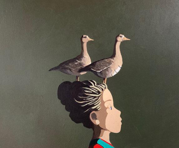 geese - Acryl auf Leinwand, 50x60cm, 2021