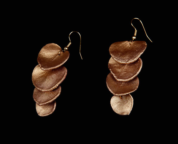 Eucalyptus leaf earrings, gilded copper
