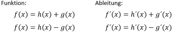 Formeln für die Summenregel und Differenzregel beim Ableiten