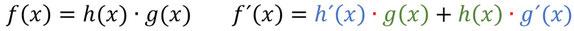 Die Produktregel farbig als Formel veranschaulicht.