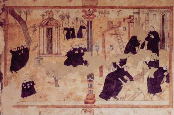 L'une des fresques du cloître.