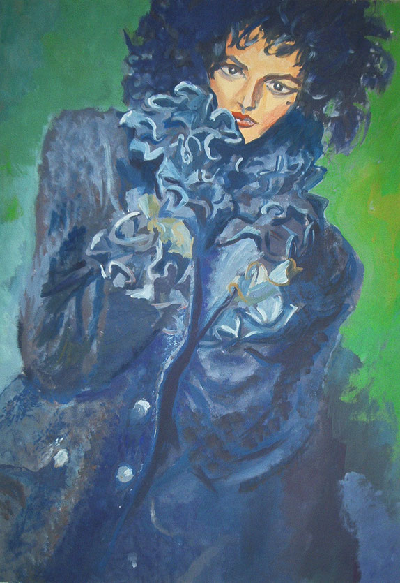rüschen,jacke,blau,kragen,mode,malerei