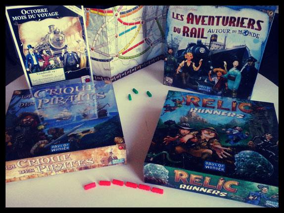 Les trois lots pour le tournoi : Les Aventuriers du rail - Autour du monde, La crique des pirates et Relic Runners