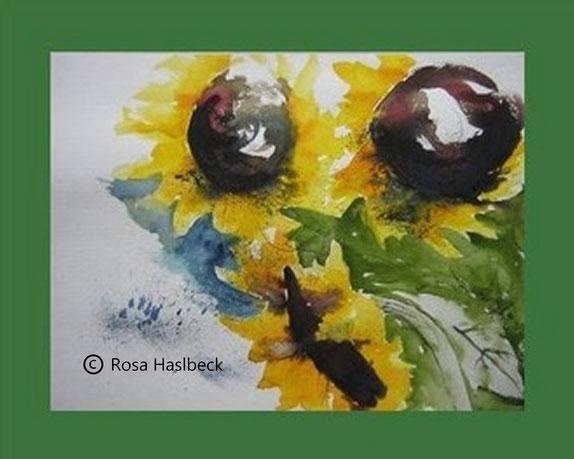 aquarell, sonnenblumen, sonne, blumenaquarell, sommer, sonne, bild, kunst, kaufen, grün, gelb, braun, blau