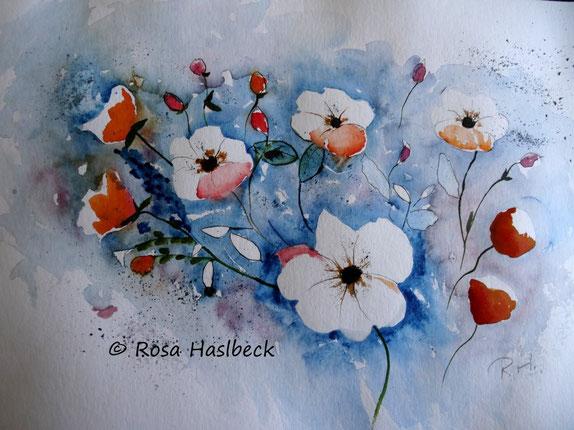 aquarell, sommer, blumen, kunst, bild, rot, blau, grün, malen, kaufen,