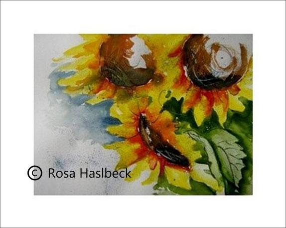 aquarell, sonnenblume, blume, sommer, sonne, kunst, bild gelb, grün, braun, blau, kaufen