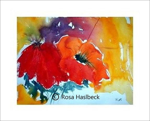 aquarell, mohnblumenaquarell, mohnblumen, blumenbild, blumen, bild, kaufen, kunst, rot, gelb, violett