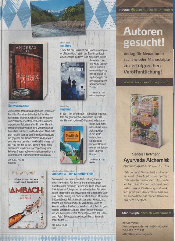 """Anzeige des Buches """"Ins Herz - Neuschwanstein Thriller"""" in der Sonderbeilage zur bayerischen Bücherwoche der Süddeutschen Zeitung"""