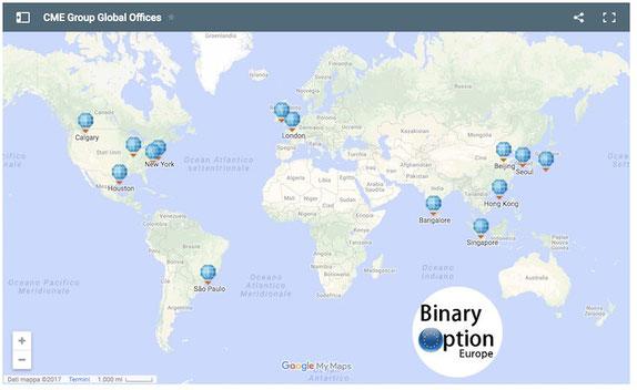 cme group borsa di Chicago lancia il bitcoin future derivato uffici nel mondo infografica