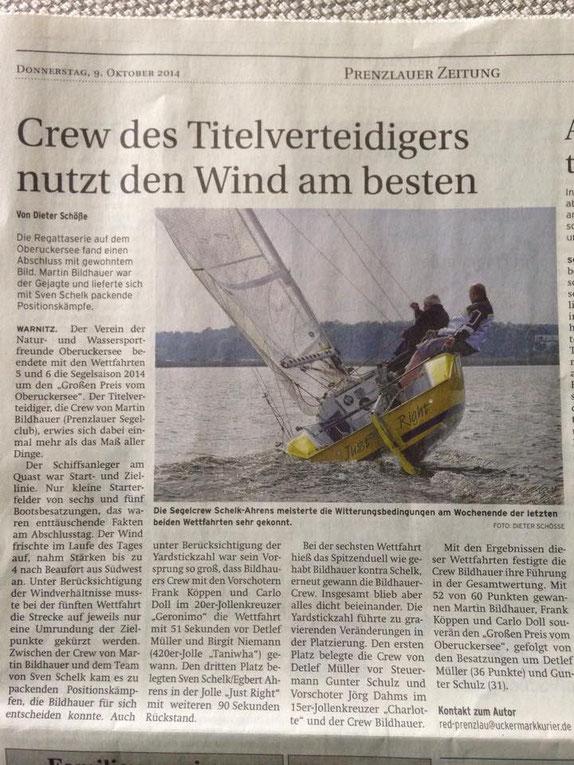 Prenzlauer Zeitung vom 09. Oktober 2014