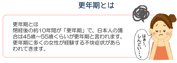更年期とは閉経後の約10年間が「更年期」で、日本人の場合は45歳から55歳くらいが更年期と言われています。更年期に多くの情勢が経験する不快症状があらわれてきます。はぁ~、しんどい