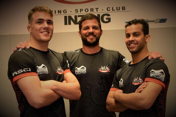 Sind schon heiß auf ihre EM Fights, Benni Greil und Aker al Obaidi mit Trainer Mo