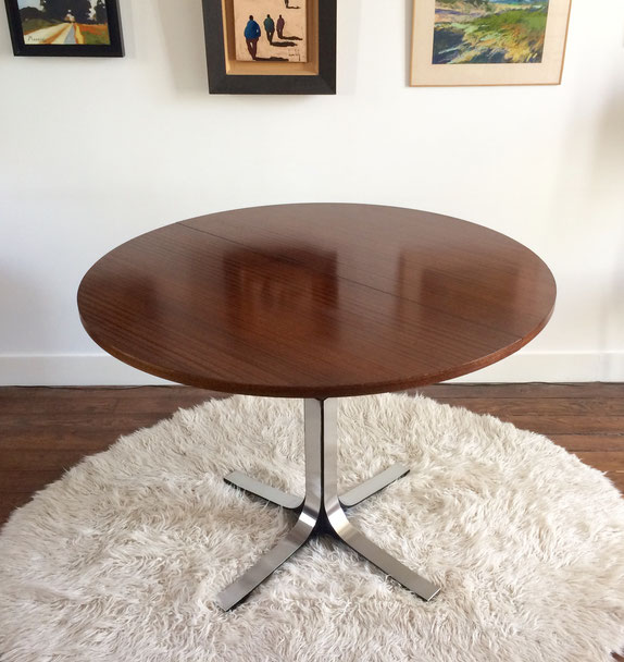 table monte-baisse, table vintage, années 70, Osvaldo Borsani, acier chromé, table acajou