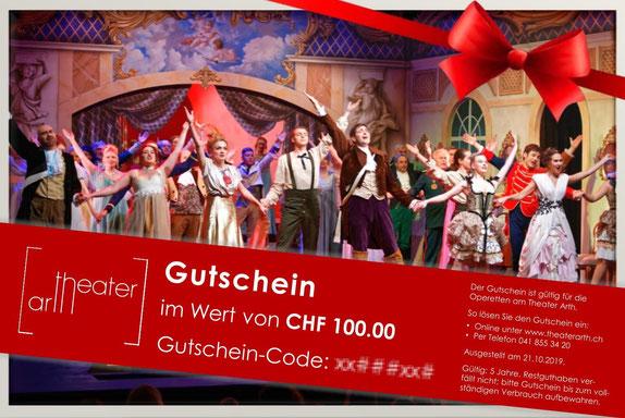 Mustergutschein für die Operetten des Theaters Arth