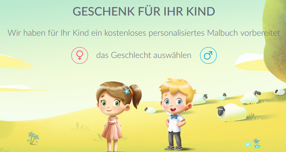 Screenshot der Landingpage: Aktion kostenloses personalisiertes Malbuch (Hurra Helden)
