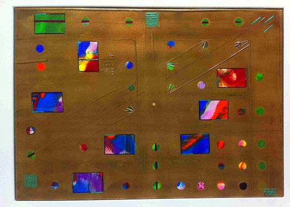 Acht Farbintensive Rechtecke und 36 bunte kreisförmige Flächen, sind nur ein kleiner Teil, den es hier zu entdecken vermag.