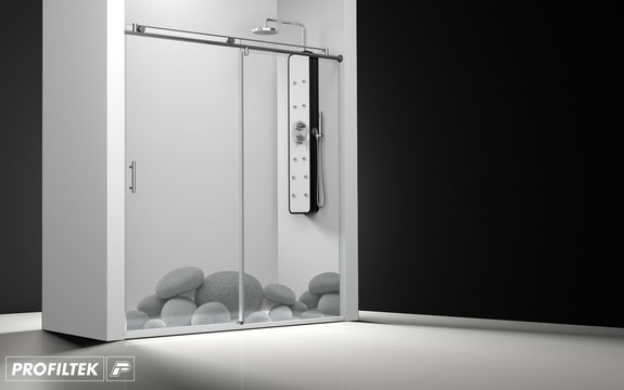 Mampara de ducha frontal corredera Profiltek Steel ST-210