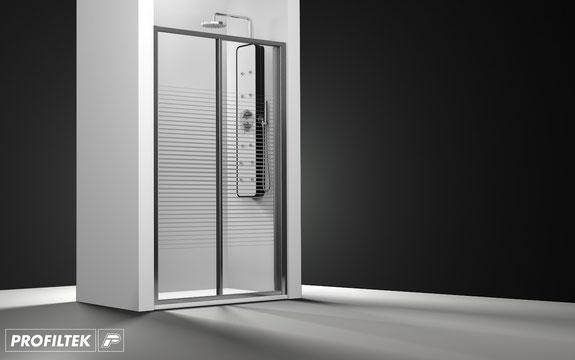 Mampara de ducha frontal corredera Profiltek Ecodux EC-211