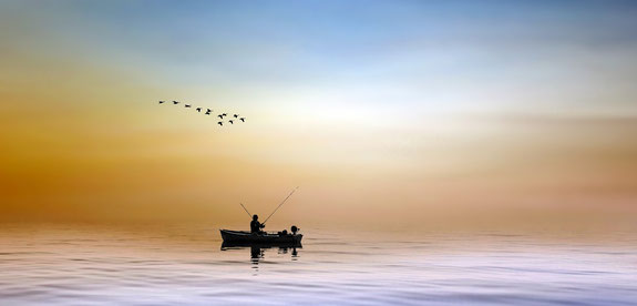 Entspannung; Entspannungsübungen; Ruhe; Angler; Meer;