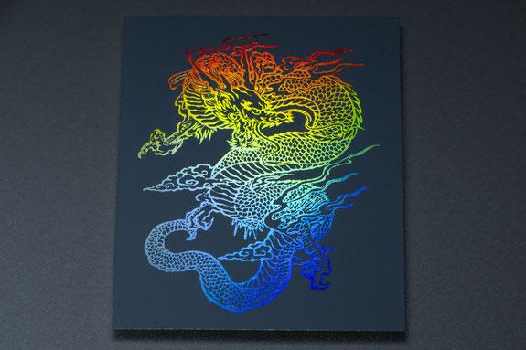 白色の箔をCF印刷で印刷した例