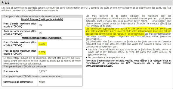 Les éventuels frais d'entrée et de sortie d'un ETF