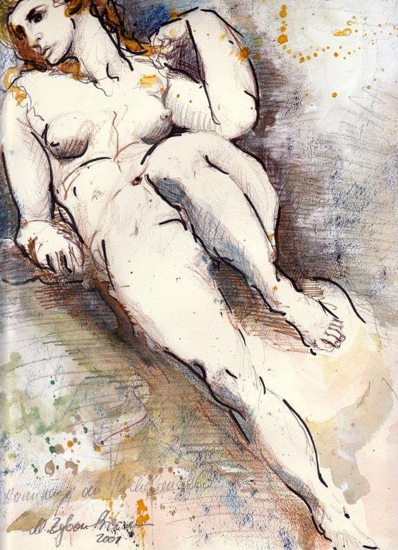 Eine Marmorskulptur Michelangelos diente als Vorlage der DIN A4-Zeichnung.