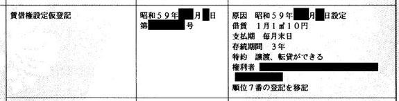古い賃借権の記録例。賃借権設定仮登記 借賃1月1㎡10円 支払期 毎月末日