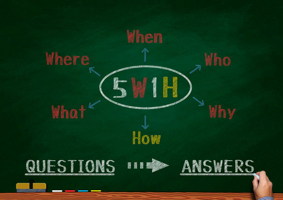 5W1H(WHO,WHEN,WHERE,WHY,WHAT,HOW)での仕事の段取り