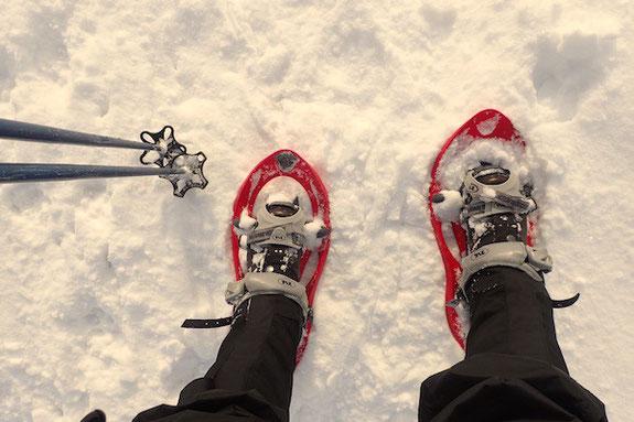 Blick auf Gamaschen, Schneeschuhe und Skistöcke
